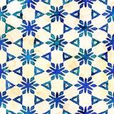 当地蜡染布无缝的水彩艺术性的boho样式五颜六色的方形的样式 库存照片