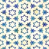 当地蜡染布无缝的水彩艺术性的boho样式五颜六色的方形的样式 免版税库存照片