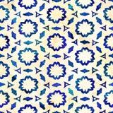 当地蜡染布无缝的水彩艺术性的boho样式五颜六色的方形的样式 免版税图库摄影