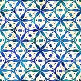 当地蜡染布无缝的水彩艺术性的boho样式五颜六色的方形的样式 图库摄影