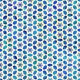 当地蜡染布无缝的水彩艺术性的boho样式五颜六色的方形的样式 库存图片