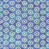 当地蜡染布无缝的水彩艺术性的boho样式五颜六色的方形的样式 免版税库存图片