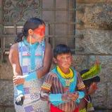 当地巴西印地安人家庭  免版税库存图片