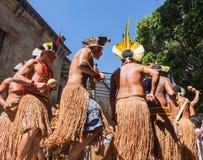 当地巴西印地安人仪式  免版税图库摄影