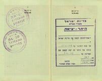 被盖印的前以色列护照 免版税库存照片