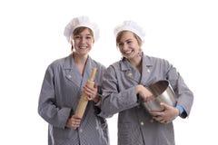 当学徒厨师二个年轻人 图库摄影