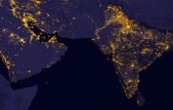 当它看起来象从空间,印度点燃在夜期间 这个图象的元素由美国航空航天局装备 免版税图库摄影
