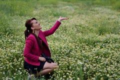 当年轻摄影师是在春黄菊的领域rai 免版税库存图片