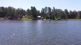 当我们是划船在芬兰时,看法我们认为相当共同夏令时 免版税图库摄影