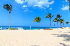 当沐浴时,在海滩的绿色旗子不表明危险 多米尼加共和国 图库摄影