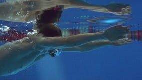当游泳者起来深深地吸一口气时,游泳蛙泳,照相机的一位专业游泳者跟随他和涌现 股票录像