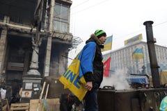 当班乌克兰爱国的厨师。 库存照片