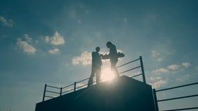 当男孩在滑板舷梯时,去下来朋友在冰鞋公园停留在夏日 影视素材