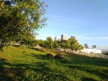 当自然和城市规划碰撞 免版税库存照片