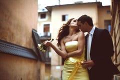 当风吹她的头发时,新郎软软地亲吻新娘 免版税图库摄影