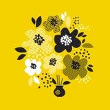 当代与黄色抽象花的春天花卉设计 现代几何传染媒介例证 向量例证