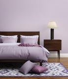 当代典雅的浅紫色的豪华卧室 免版税库存图片