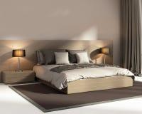当代典雅的黑暗的米黄豪华卧室 免版税库存照片