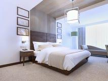 当代卧室明亮的内部  库存图片