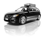 当代发光的澳洲内地黑色汽车 免版税库存照片