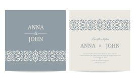 当代婚礼邀请卡片-线艺术灰色蓝色口气传染媒介设计 库存例证
