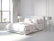 当代所有白色卧室 免版税库存图片