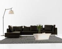 当代最小的黑皮革沙发 免版税库存图片