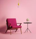 当代桃红色phux扶手椅子 库存图片
