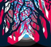 当代森林图画,木头,树 向量例证