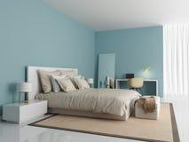 当代现代浅兰的卧室 免版税库存图片