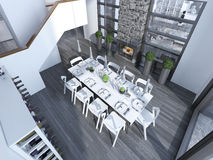 当代用餐与白色家具趋向 免版税库存图片