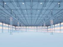 当代空的白色仓库3d例证 向量例证