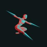 当代舞蹈芭蕾舞蹈艺术的姿势由一位残疾舞蹈家的 皇族释放例证