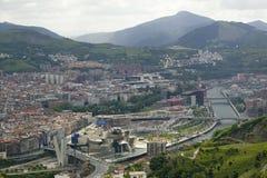 当代艺术古根海姆美术馆的鸟瞰图西班牙的北海岸毕尔巴鄂(比尔博)的位于巴斯克雷希奥 免版税库存图片