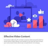 录影内容、生产和促进、观看网上的影片,更多喜欢和看法 库存图片