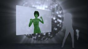 录影四名妇女跳舞 向量例证