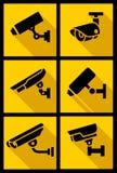 录影监视,设置了黄色正方形 库存图片