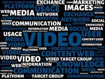 录影-与词与题目社会媒介相关,词,图象,例证的图象 库存例证