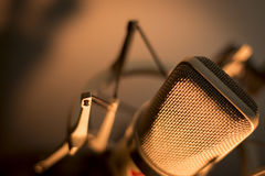 录音声音演播室声音话筒 免版税图库摄影