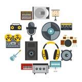 录音室项目象在平的样式设置了 向量例证