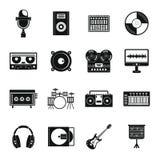 录音室项目象设置了,简单的样式 库存例证