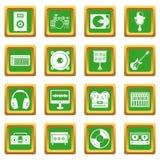 录音室绿色项目的象被设置 向量例证