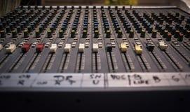 录音演播室搅拌器特写镜头透视 免版税图库摄影