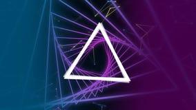 形成与数字的被连接的点三角在角度 转动在紫色三角走廊 影视素材