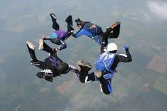 形成四个自由下落跳伞运动员的圈子 免版税库存图片