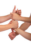 形成小组的链拳头 免版税库存照片