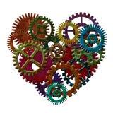 形成心脏形状例证的生锈的金属齿轮 库存照片