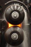 形成机器的钢卷 免版税库存照片