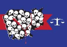 形成柬埔寨地图的种族灭绝受害者的正义 免版税库存图片