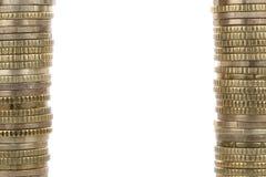 形成框架的金黄硬币 免版税库存照片